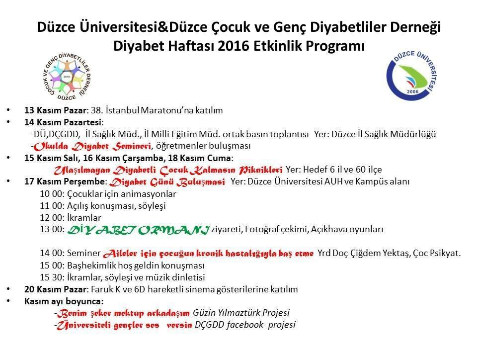 Düzce Üniversitesi- Düzce Çocuk ve Genç Diyabetliler Derneği Etkinliği